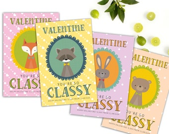 Printable Kids Valentine Cards // Printable Classroom Valentines // Animal Valentines // School Valentines // Digital Cards // The Clarissa