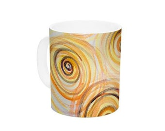"Ceramic Coffee Mug - Yellow Gold Swirls Maria Bazarova ""Spirals"" MB6040A Great Gift Idea!"