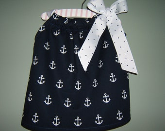 Girls Anchor Dress, Nautical Dress, Navy with White Anchors, 3month-8years, Infant, Toddler. Baby Girl, Cruise, Beach Vacation, Photo Shoot