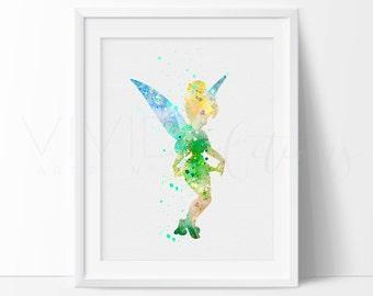 Tinker Bell, Disney Princess Baby Girl Nursery Art Print Wall Decor, Watercolor Art Print, Modern Baby Room Print, Wall Art, No. 47