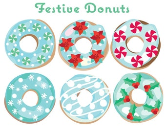 Donuts Clip Art - Christmas Donuts Clipart -Winter Donut Clip Art - Christmas Clipart