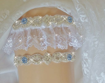 French Lace Wedding Garter Set, Bridal Garter, White or Ivory, Something Blue Garter Set, Keepsake and Toss, Rhinestone Garter Lingerie