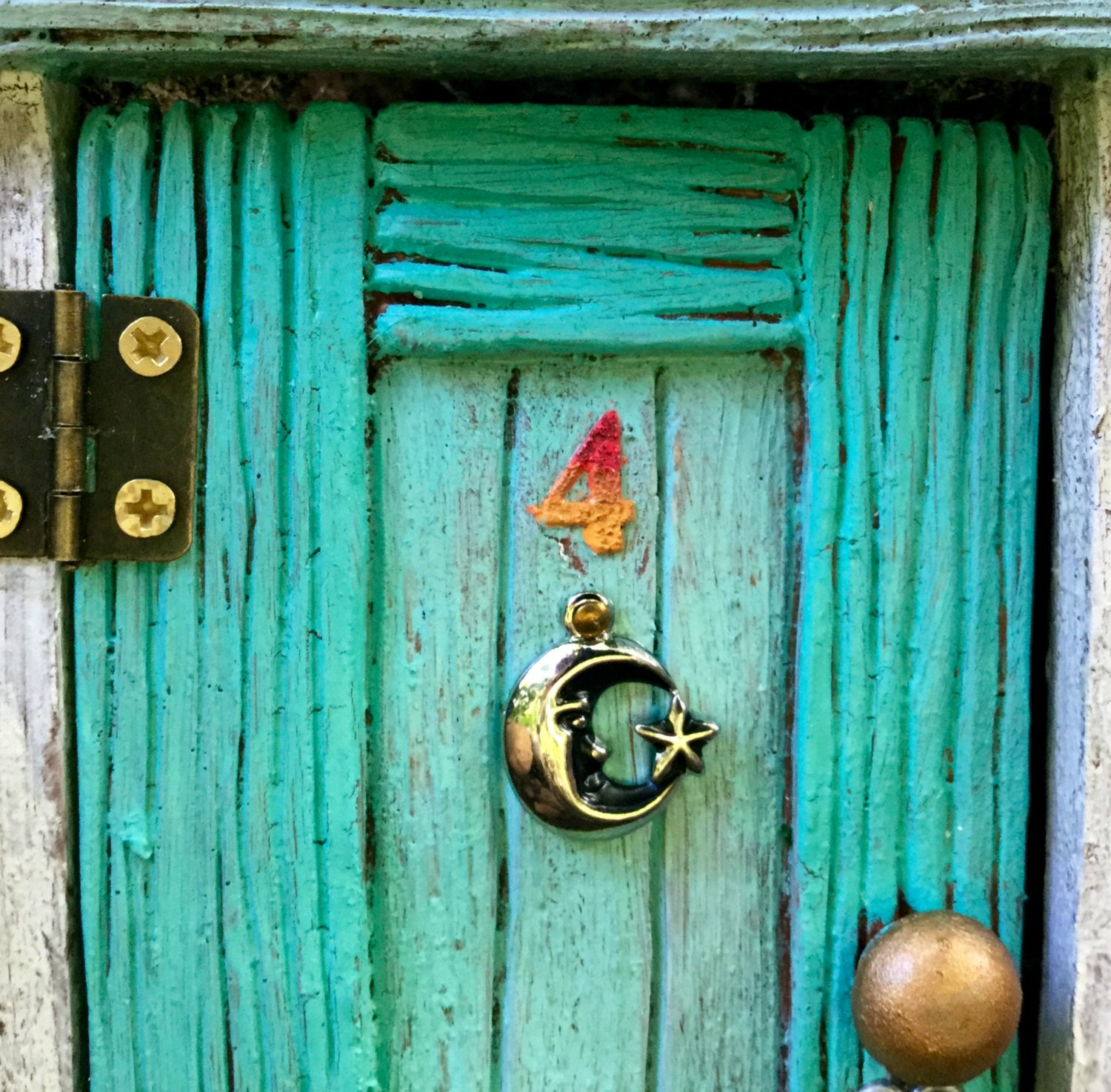 Hinged 5 wood grain style fairy door for the home or for Wooden fairy doors to decorate