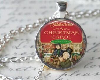 A CHRISTMAS CAROL Pendant Necklace - Charles Dickens - pendant necklace christmas necklace Jewelry Christmas Gift A Christmas Story Jewelry