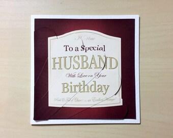 Husband Birthday Card * Handmade Card * Special Husband Card * Birthday Card * Card For Him * Happy Birthday * Happy Birthday Card * Husband