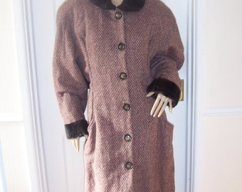 Rare Authentic Vintage 40's/50'S Wool/Mohair  Blanket Weave  Coat sz 10/12 * Pristine