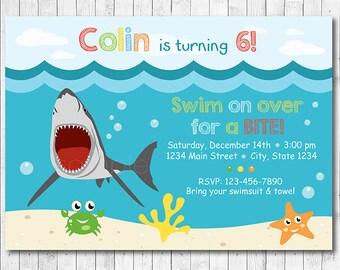 Shark Birthday Invitation, Shark Invite, Swimming invitation, Swimming invite, Pool party, Swim Party, Under the sea Invite, Boys Invitation