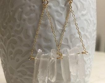 Rough Cut Crystal Drop Earrings