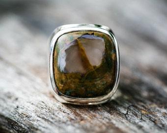 Ocean Jasper Ring Size 8 - Orbicular Jasper Ring Ocean Jasper Ring Size 8 - Orbicular Jasper - Ocean Jasper Gemstone - Ocean Jasper Jewelry