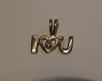 "10k Y/Gold-Diamond ""I Love You"" charm/pendant-hallmarked"