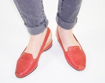 Vintage Bandelino Slingbacks | 70s Red Leather Gold Stud Strap Shoes | US 6 UK 4 Euro 35 - 36