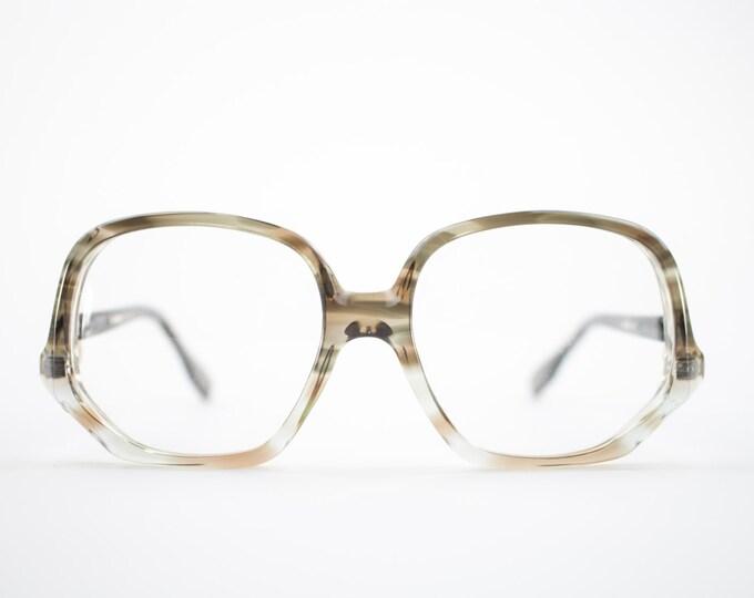 Vintage 70s Round Glasses | Clear Grey Oversized Eyeglass Frame | 1970s NOS Eyeglasses | Vintage Deadstock Eyewear - Colossal Caviar