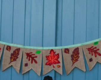 Autumn Leaves Natural Handpainted Hessian Bunting - made to order
