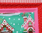 Christmas Fabric Bundle - Michael Miller Gingerbread House, Riley Blake Red Dots, Stripe, Dream - 4 Fat Quarters - Quilting, Craft, Cotton