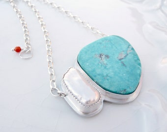 Blue Gem and Pearl Pendant - Rare Nevada Turquoise, Natural Pearl, Sterling Silver, Contemporary Necklace