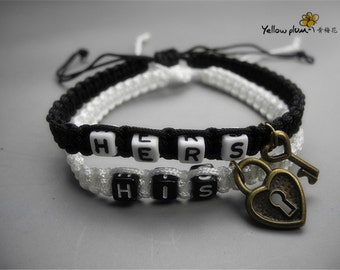 Couples Bracelets His and Hers Key and Lock Bracelets Friendship Anniversary wristband A03
