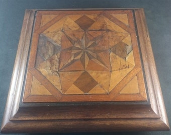 Antique Victorian Tunbridge Marquetry Inlay Wooden Display Stand Trivet or Stool  1800's
