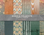 Amber & Malachite Golden Marble and Watercolor Digital Background Papers