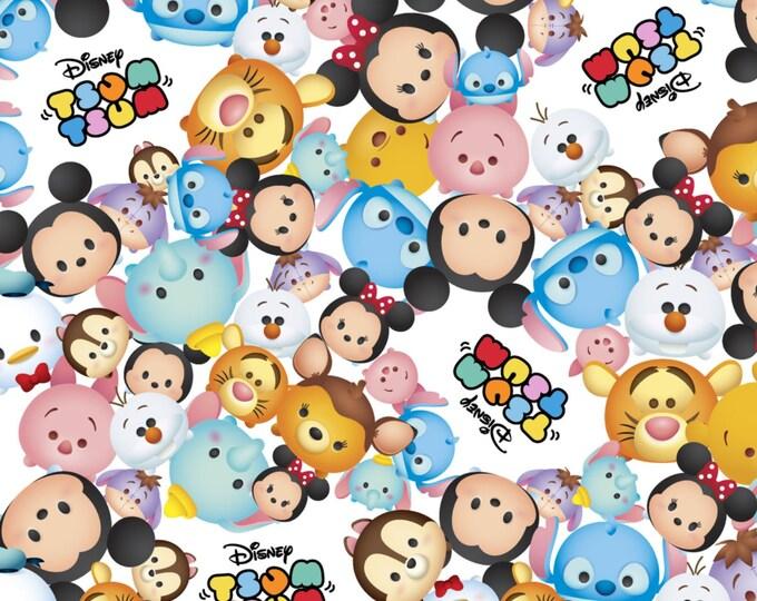 Disney Tsum Tsum Packed with Logo White - Cotton Woven - Springs Creative