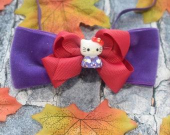 Wine and purple hello kitty bow - Baby / Toddler / Girls / Kids Elastic Hairclip / Hair Barrette / Hairband / Headband / holiday gift