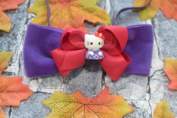 Wine and purple hello kitty bow - Baby / Toddler / Girls / Kids Elastic Hairclip / Hair Barrette / Hairband / Headband / holiday gift