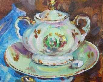 Picture Art Oil Still Life Painting Crockery Porcelain