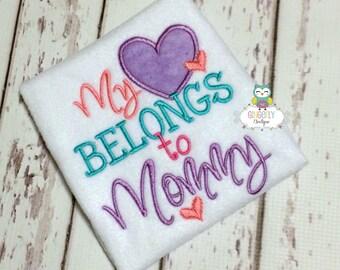 My Heart Belongs to Mommy Shirt or Bodysuit, Heart Belongs to Mommy Valentine Shirt, Valentine Shirt, Love Shirt, Girl Valentine Shirt