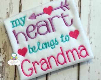 My Heart Belongs to Grandma Shirt or Bodysuit, Heart Belongs to Grandma Valentine Shirt, Valentine Shirt, Love Shirt, Girl Valentine Shirt