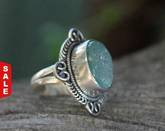 Gorgeous Drusy quartz ring, Drusy ring, drusy quartz ring, Sterling silver ring, gemstone ring, green ring, RJRI027