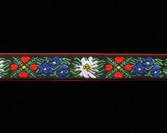 "466.2 Scandinavian ribbon, Scandinavian trim, Oktoberfest, German ribbon, German trim, ""Edelweiss with Red"" Narrow 5/8"" (16mm)"