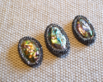 BEAUTIFUL! NEW Abalone Shell Beads with Crystal Pave Rhinestone setting, Tribal Boho Gypsy Charm Bead
