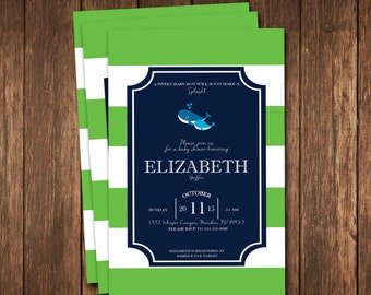Whale Baby Shower Invitation; blue and green whale invitation