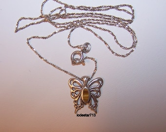 Sterling Butterfly Necklace, Butterfly Jewelry, Butterfly with Tiger Eye, Sterling Chain,