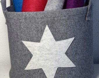 Basket wool felt laundry basket around grey flecked with star Zeitungskob