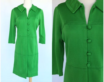 ON SALE Vintage 60s Knits By Camelon Green Coat Jacket Mod
