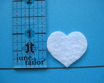 "White felt Hearts -- 1"" tall (2.5 cm) Die cut. Ready to ship. Great for crafts, wax dipping, etc. These can be dyed with markers."