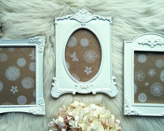 """Vintage Frames, Wedding Picture Frames, Shabby Chic Photo Frames, Very Ornate, Hand Painted White, Set of 3,  5"""" x 7"""" Frames, Cottage Decor"""