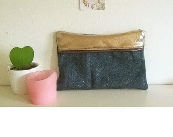 Glittery blue linen and band Golden pouch
