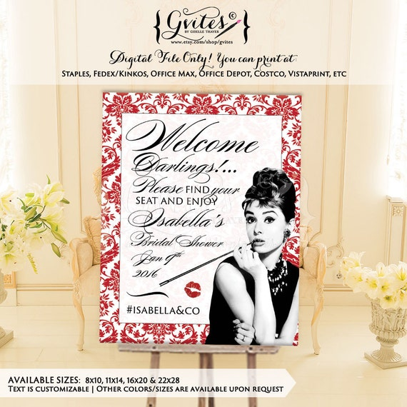 Audrey Hepburn welcome banner poster signs, personalized Audrey signs, printable banner, breakfast at, back drops, digital printables.