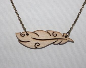 Wood Carved Leaf Necklace