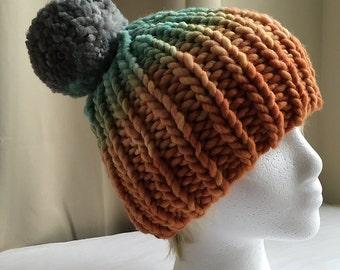 Hat // Pom-Pom // Ombre // OOAK // pompom hat // handknit // gradient // orange // green