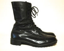 70s Vintage Black Leather Combat Boots Grunge Army Punk Lace Up Vtg 1990s Size Mens 11