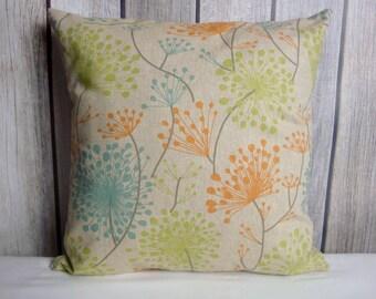 Floral Pillow. Pillow Cover. Orange Pillow. Blue Pillow. Dandelion Pillow. Beige Pillow
