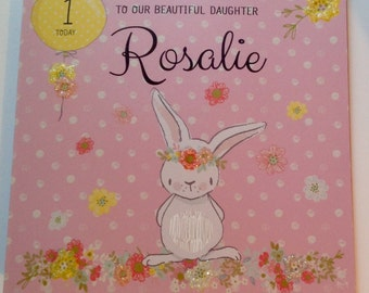 Cute Personalised 1st Birthday Card Daughter, Granddaughter, Niece, 2nd  3rd 4th 5th 6th Pink With Bunny