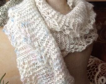 Handknit scarf, shawlette - white mohair