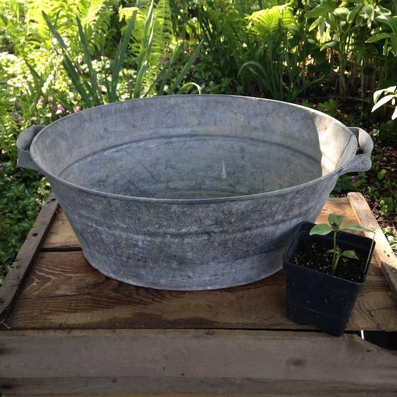 Vintage galvanized small wash tub with handles~cottage~garden~wedding ...