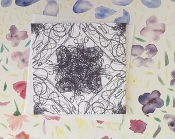 Celtic Jellyfish, Hand Drawn, FeFiFo, Illustration, Digitally Printed, Any Occasion, Card Blank inside, Black & White