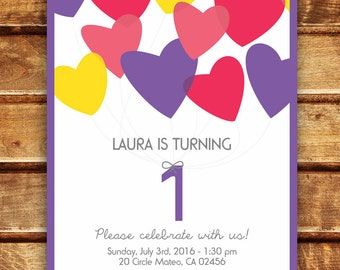 Heart Balloons Party 1st Birthday Pink, Purple and Yellow Girl Custom Invitation