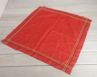 Vintage Red Stitched Edge Stripe Handkerchief Hanky Scarf Bandana Primary Colors