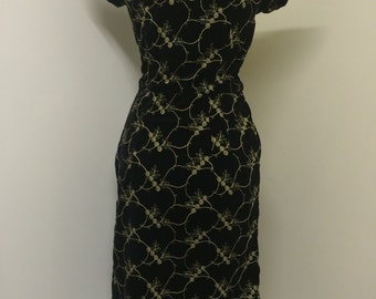 Vintage 50s Black Velvet with Gold embroidery Wiggle Dress
